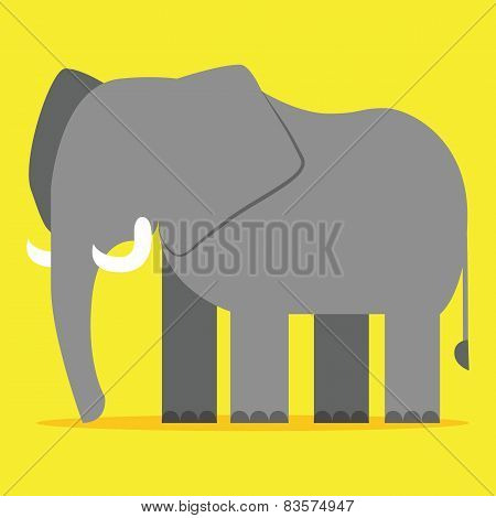 Vector Cartoon Elephant Isolated On Blank Backgrond