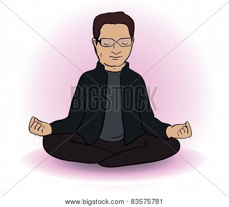 Calm  indian man sitting in lotus pose on white background. Vector illustration