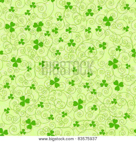 Green Spirals And Clover Backgrounds