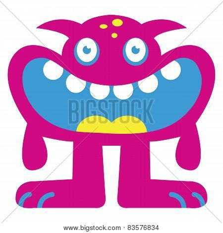 Vector Cartoon Funny Pink Monster Character Isolated