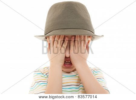 child hide peek-a-boo hat retro portrait closeup