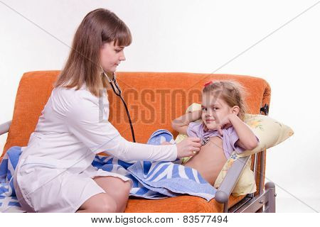 Pediatrician Listening Stethoscope Baby Breast