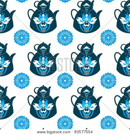 Seamless Pattern Of Pots And Flowers On A White Background