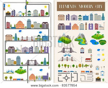 Elements Of The Modern City Or Village - Stock Vector.