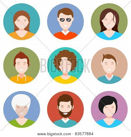 Set Of People Avatar In Style Flat Design