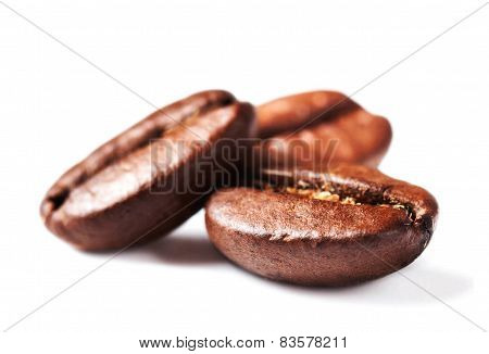 Roasted Coffee Beans Isolated On White Background With Shadow, Macro. Soft Focus.