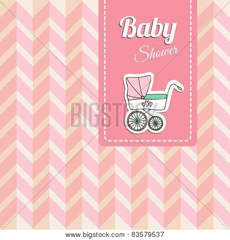 Cute Baby Shower Card, Invitation With Baby Carriage, Vector