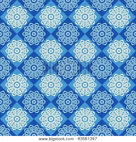 Seamless Pattern Of Blue And Cyan Rhombuses
