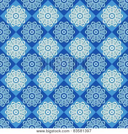 Seamless Pattern Of Blue And Cyan Rhombuses