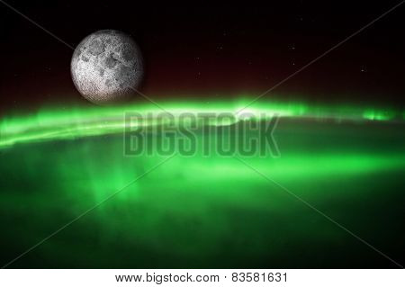 Aurora Borealis Australis from space