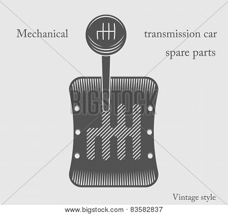 Vector Illustration Of A Of A Mechanical Transmission Sports Car