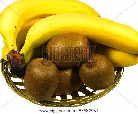 Kiwi fruits and bananas in a basket