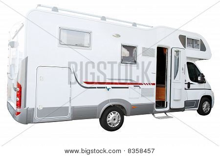 white rv truck isolated