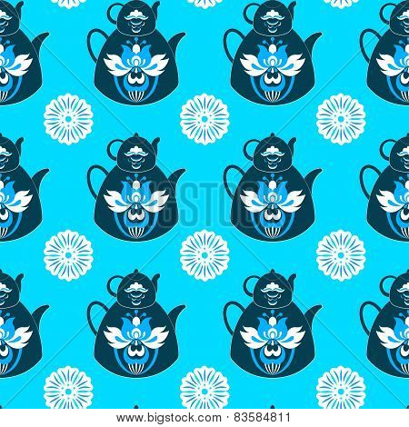 Seamless Pattern Of Pots And Flowers On An Isolated Blue Backgro