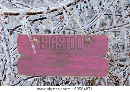 Blank wood sign hanging on ice covered tree branches
