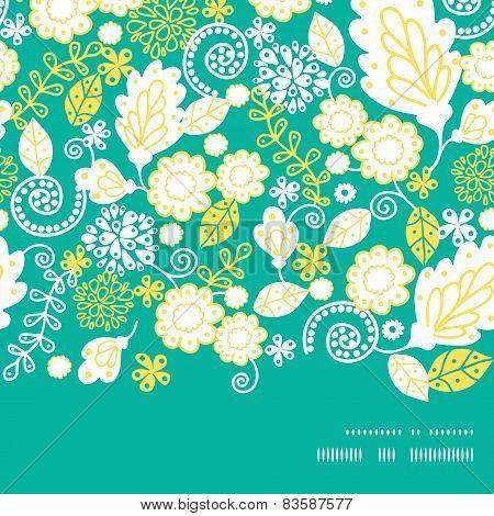 Vector emerald flowerals horizontal frame seamless pattern background