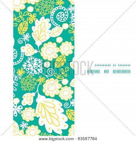 Vector emerald flowerals vertical frame seamless pattern background