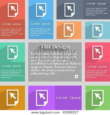 Text File Sign Icon. File Document Symbol. Set Of Colour Buttons. Vector