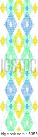 Colorful fabric ikat diamond vertical seamless pattern background