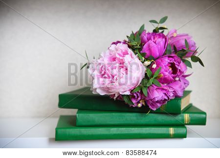 Wedding Bouquet Of A Pink  Peonies, Tulips And Lily Of The Valley