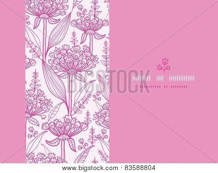 Pink lillies lineart horizontal seamless pattern background