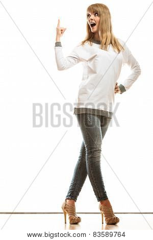 Woman Casual Style Showing Copy Space