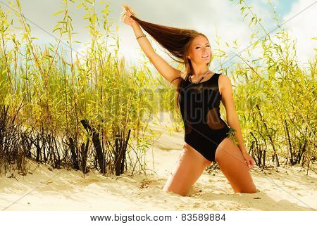 Beautiful Sexy Girl In Swimwear On Beach.