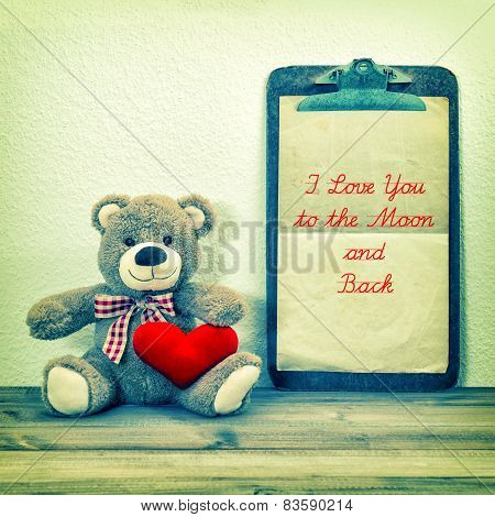 Teddy Bear With Red Heart And Clipboard. Vintage Valentines Day