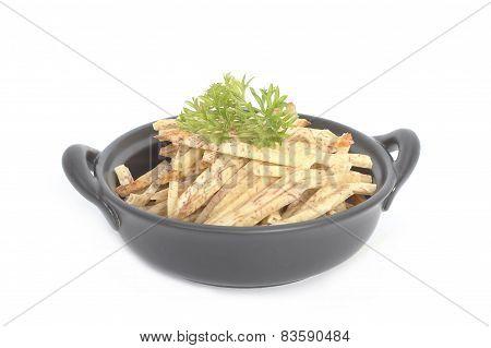 Fried Taro Chips With Parsley On The Black Bowl, Taro Snacks