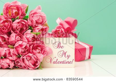 Pink Tulips, Gift Ang Greeting Card. Valetine's Day