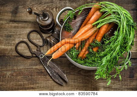 Fresh Carrots With Vintage Kitchen Utensils. Country Style Food Concept