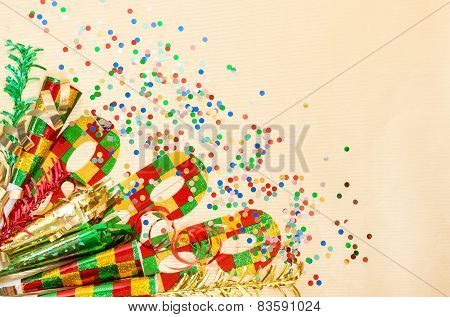 Carnival Mask, Confetti, Streamer. Holidays Decorations