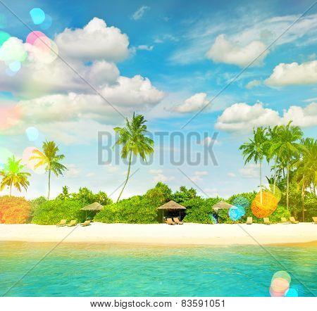 Tropical Island Sand Beach With Palm Trees. Sunny Blue Sky With Light Leaks