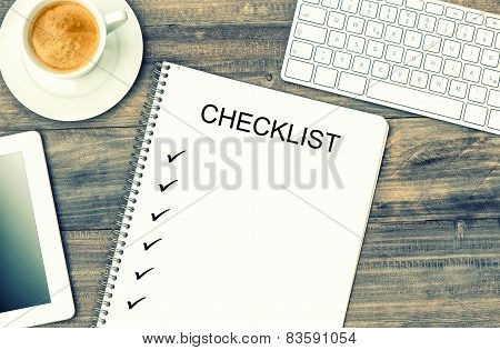 Notebook, Digital Tablet, Keyboard And Coffee. Mock Up Checklist