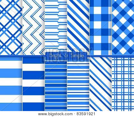 Bright And Simple Blue Stripes Pattern Set