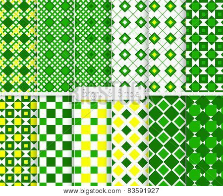 Bright And Simple Green And Yellow Small Squares Pattern Set