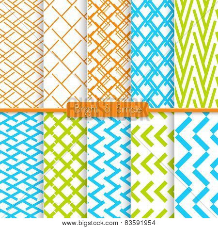 Bright And Simple Orange Blue And Green Pattern Set