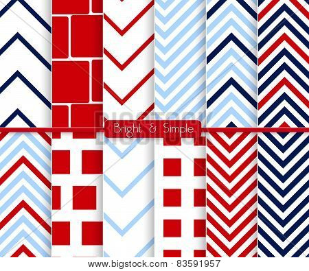 Bright And Simple Red And Blue Squares Pattern Set