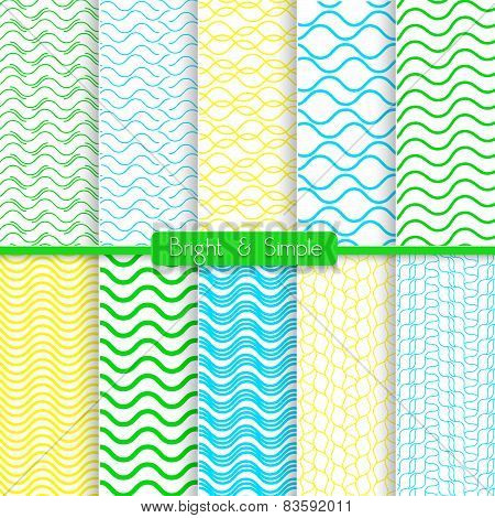 Bright And Simple Yellow Green And Blue Pattern Set