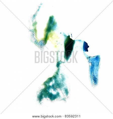macro spot blue, green, yellow blotch texture isolated on white