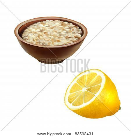 Bowl of oats porridge. Healthy breakfast, half of a lemon isolated on a white background