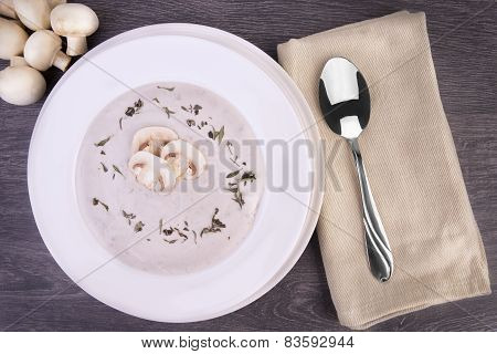 Fresh Mushroom Soup In A White Bowl