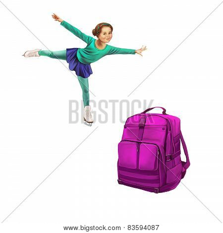 Green Backpack Standing, Beautiful young girl doing figure skating. Isolated on white background