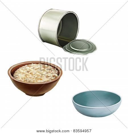 Opened empty can, Bowl of oats porridge on a white background. Healthy breakfast, Light blue Pet bow