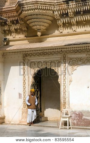 Jodhpur, India - January 1, 2015: Indian Staff At Mehrangarh Fort In Jodhpur