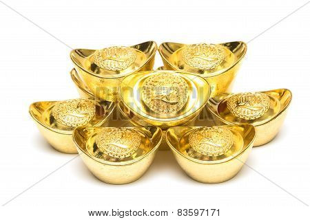 Stack Of Gold Ingots And Blessing Word.