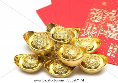 Chinese New Year Ornament,stack Of Gold Ingots And Blessing Word.