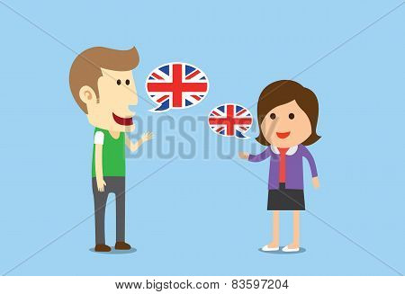 Women and man speaking English