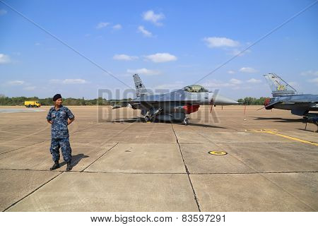 F-16 With Soldier Display/show On Children's Day At Korat Wing 1 Royal Thai Airforce