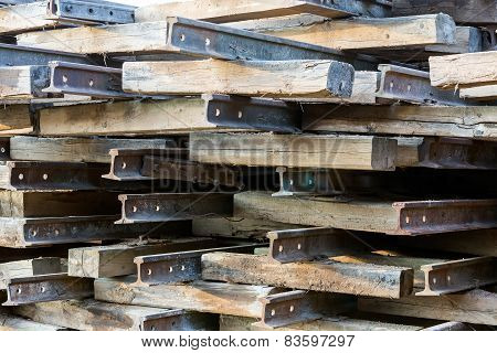 Stack Of Rusted Railroad Tracks